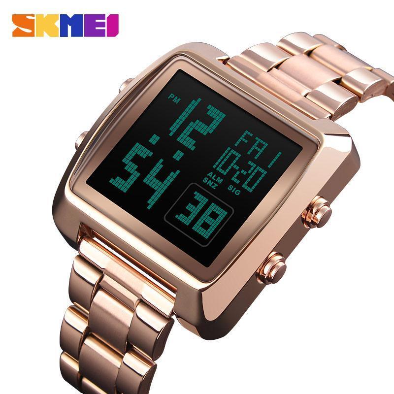 SKMEI Fashion Sportuhren Mann-Edelstahl-Bügel-Uhr-Countdown LED Display Display beobachten Reloj Hombre 1369