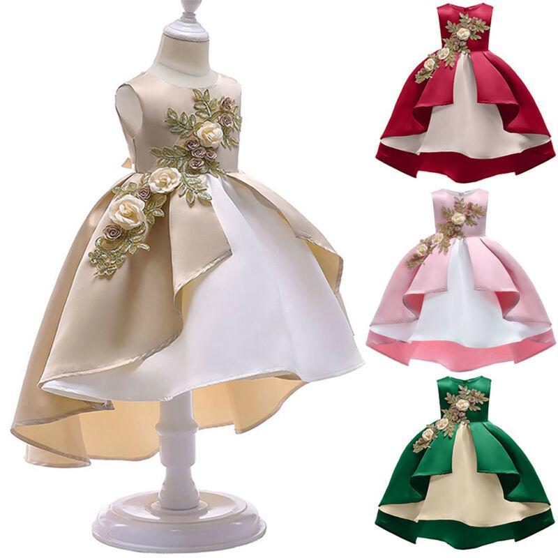 2020 Abend-Partei-Kleid-Mädchen-Kleinkind-Kinder-Stickerei-Blumen-Festzug Prinzessin Kleider Backless Bowknot Tutu-Kleid Hochzeit