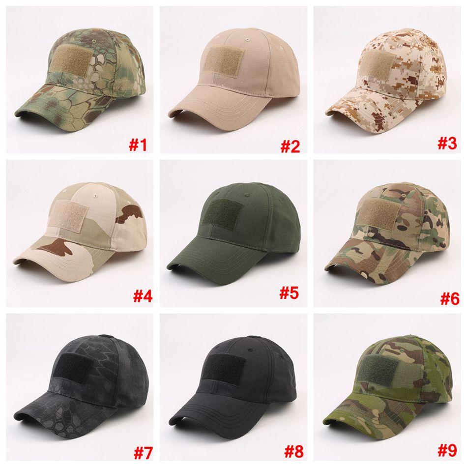 Boné de beisebol militar de camuflagem com etiqueta mágica chapéu Exército Outdoor Sports Tactical acampamento pára-Cap LJJA3658