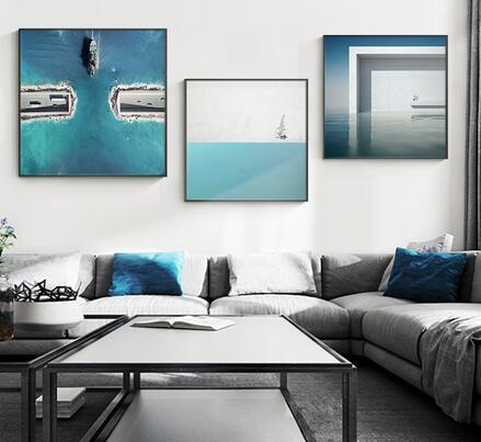 Modern Bright Blue water and nordic structure For Living art wall decoration hot sale popular poster 6
