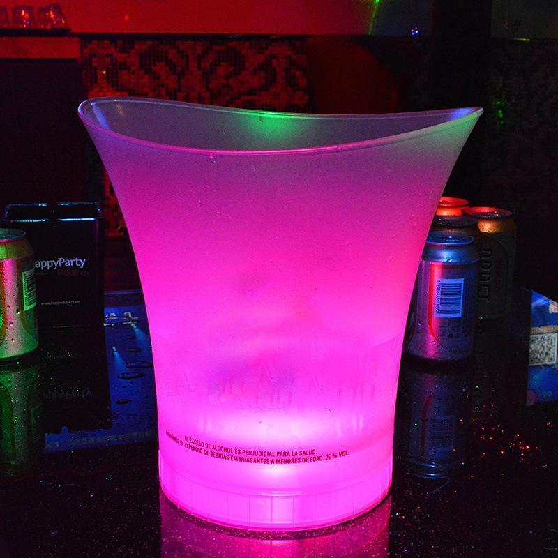 LED Buz Kovası 5L Plastik Renk Değiştirme Barlar Gece Kulüpleri KTV Parti Gecesi için LED Bira Kova