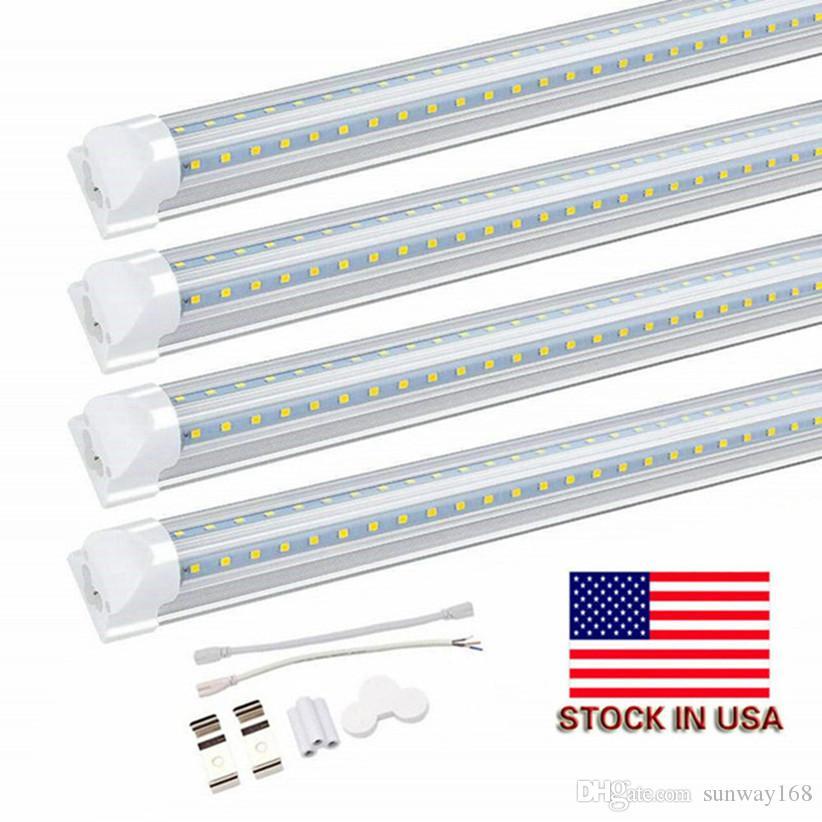 LED Tube 8FT en V 4 Pieds 5FT 6Feet 8Feet LED T8 intégré Tube Cooler porte Côtés Double SMD2835 LED Tube fluorescent lumière