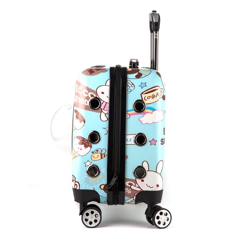 Portable Cartoon Pet Trolley Box per il piccolo cane del gatto a quattro ruote traspirante Pet Carrier con Bubble Finestra 6.5kg Max cuscinetto