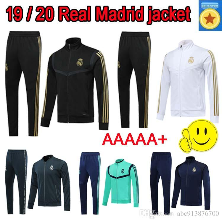 2020 Real madrid Jacket Suit Soccer Kit black 19/20 long sleeve tracksuit Men real madrid HAZARD MODRIC Football sweatsuits Jacket+Pants