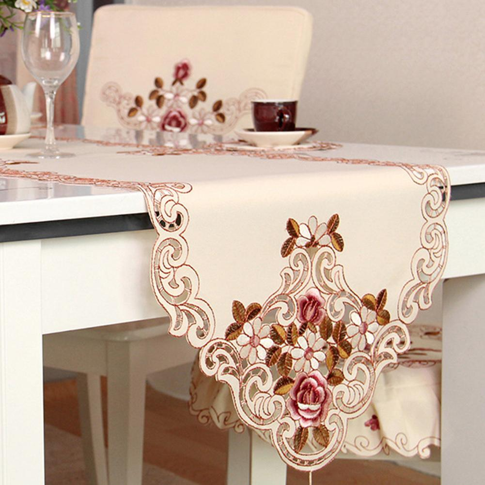 European Pastoral Embroidery Tablecloth Table Runner Elegance Chair Yarn Wedding Party Decor