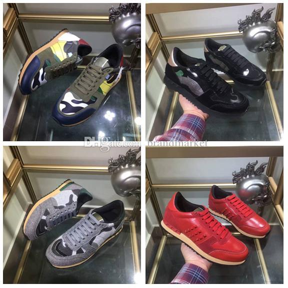 Chegada nova Spikes Sapatos Moda Camuflagem Vermelho Cinza Verde Tênis Sapatos Das Mulheres Dos Homens Calçados Flat Designer Rockrunner Sapatilhas