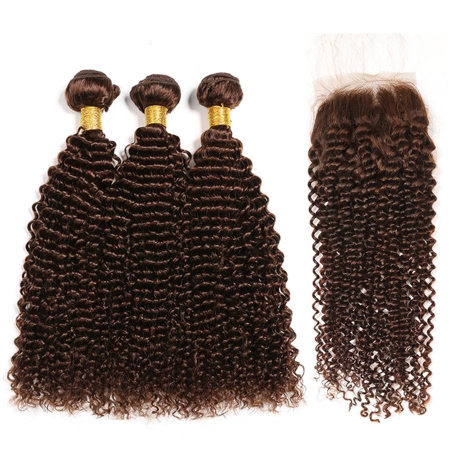 Premium Medium Brown # 4 Kinky Curly Remy Human Weaves 3 pacotes de tecelagem com 4x4 Lace Fechture