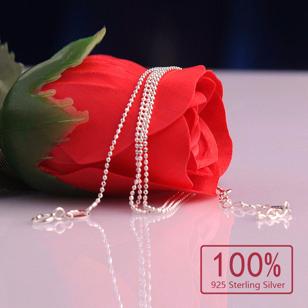 KASANIER New Fashion Real Pure 100% 925 Sterling Silber Kette Dünne Link Halskette 20 zoll Silber Dünne Kette Frauen Schmuck kostenloser versand