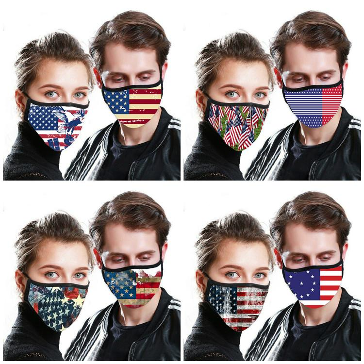 American National Flag 3D Printed Waschbar PM 2.5 Masken Flag Printed Maske Anti Staub Gesichtswiederverwendbare Mund Muffle T9I00368 Maske