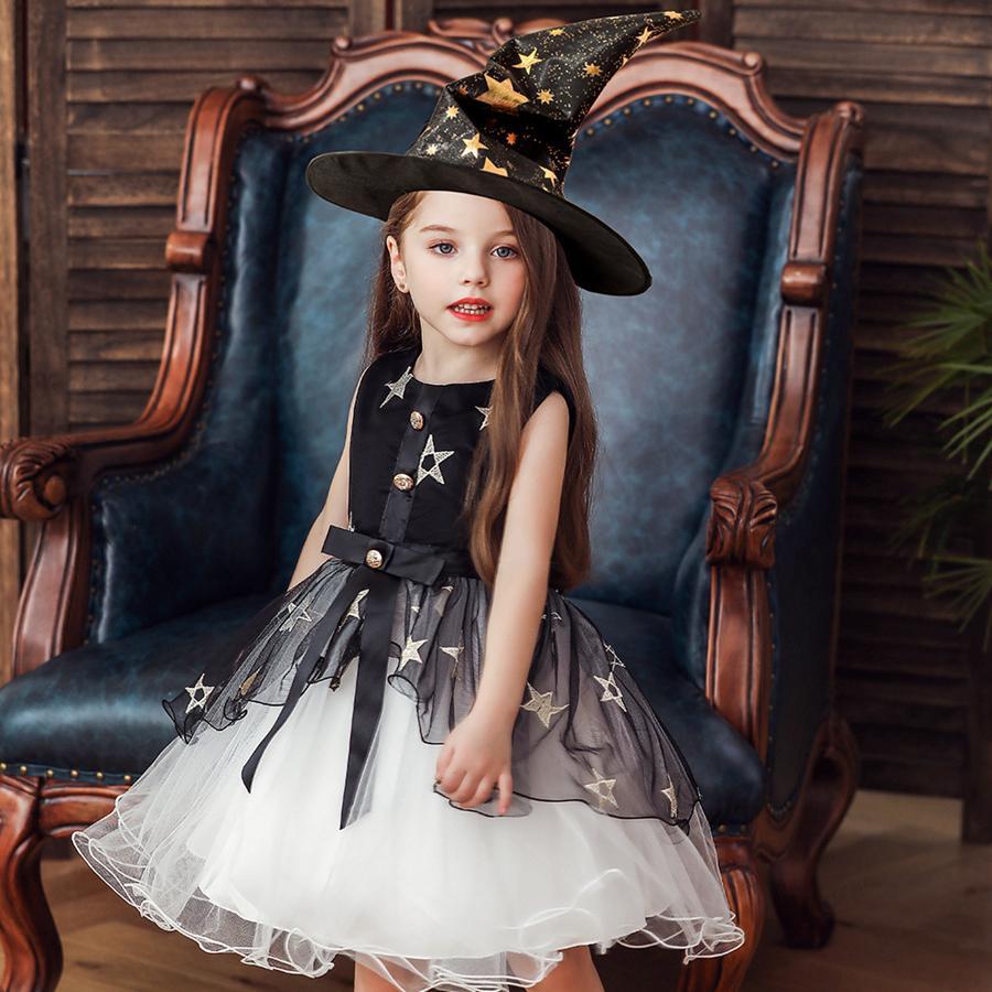 فتاة هالوين فساتين كشكش شاش نجوم لؤلؤة القوس شاح تأثيري اللباس مع ساحرة قبعة الاطفال مصمم ملابس الفتيات 3 أنماط فساتين RRA1939