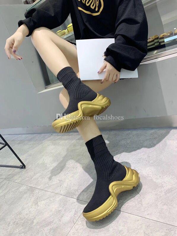 Tasarımcı Archlight Sneakers Kadınlar Archlight Çorap Çizme Kayma-On Örme Bilek Boots Moda Lüks Lady Altın Dalga Şeklinde Kış Boot