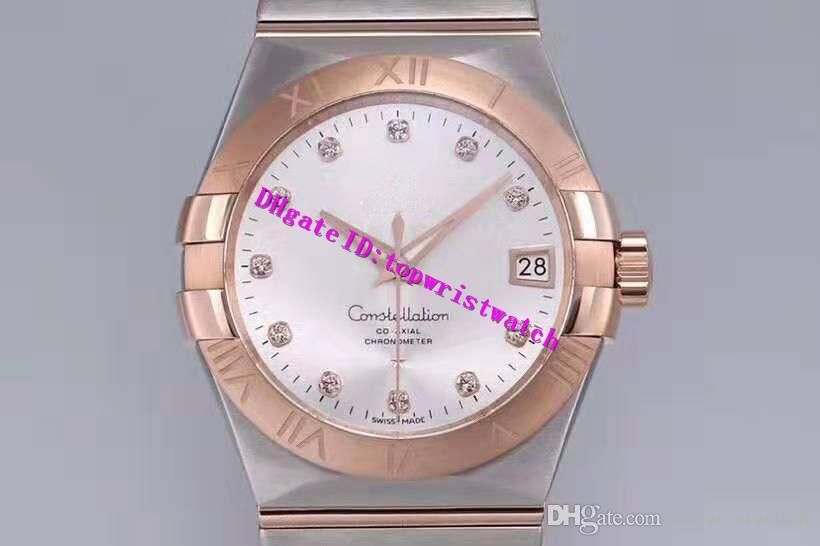 VS Classic Mens Watch Swiss 8500 Meccanico Automatico Mens Orologio Da Polso 28800 Vph diamante scala Zaffiro In Acciaio Inox Oro rosa lunetta