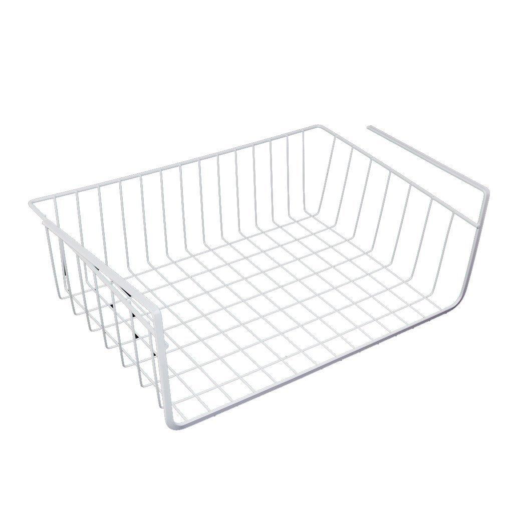 Best Storage Space Under Shelf Basket For Storage Bookcase Closet Kitchen - White