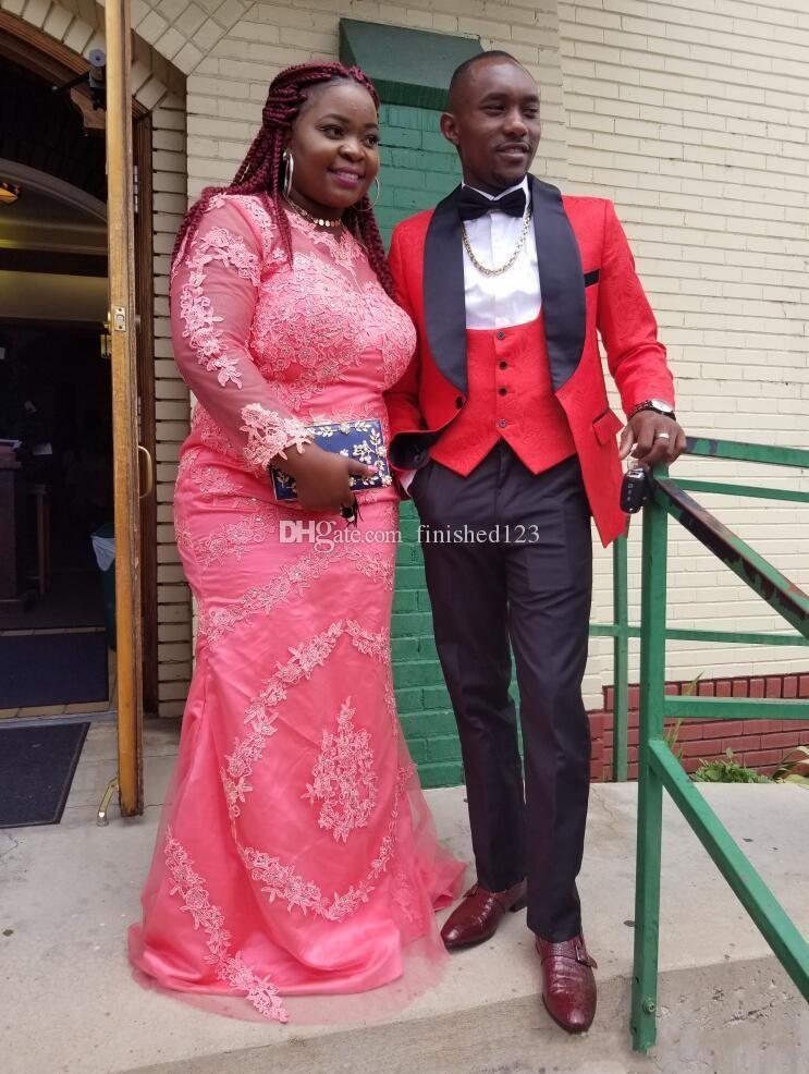 Fashion One bouton rouge de mariage Hommes Costumes Shawl Lapel Trois Pièces Business Groom Smokings (veste + pantalon + veste + Tie) W1021