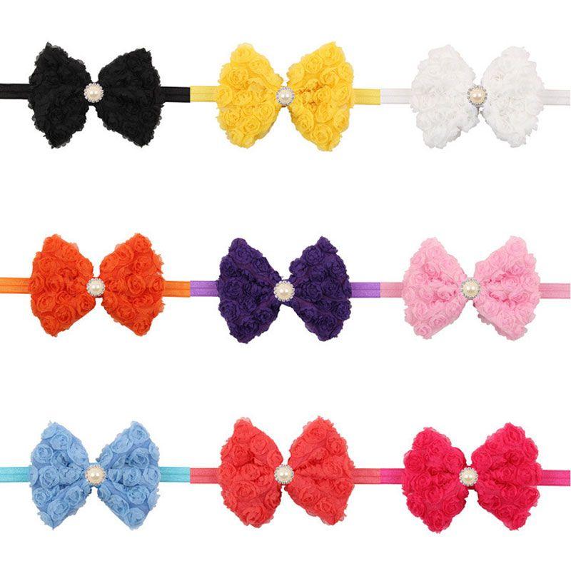 Детские луки принцессы головные уборы девушки милый шифон цветок детские волосы аксессуары мода жемчуга повязки лук