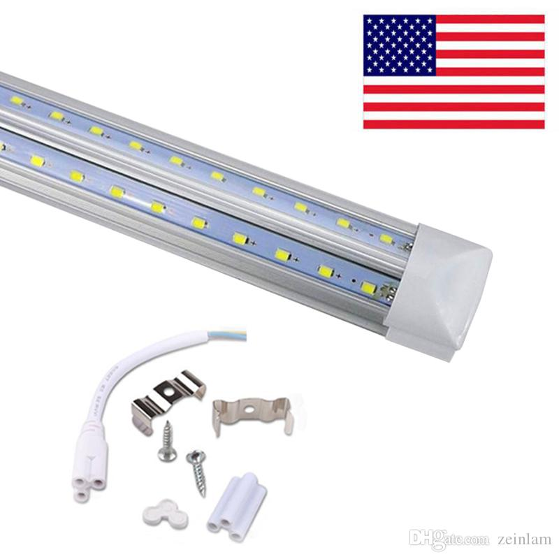 Stocks In US V-Shaped T8 4ft 5ft 6ft 8ft Cooler Door Led Tube Integrated Led Tubes Double Sides SMD2835 Led Fluorescent Lights AC85-265V