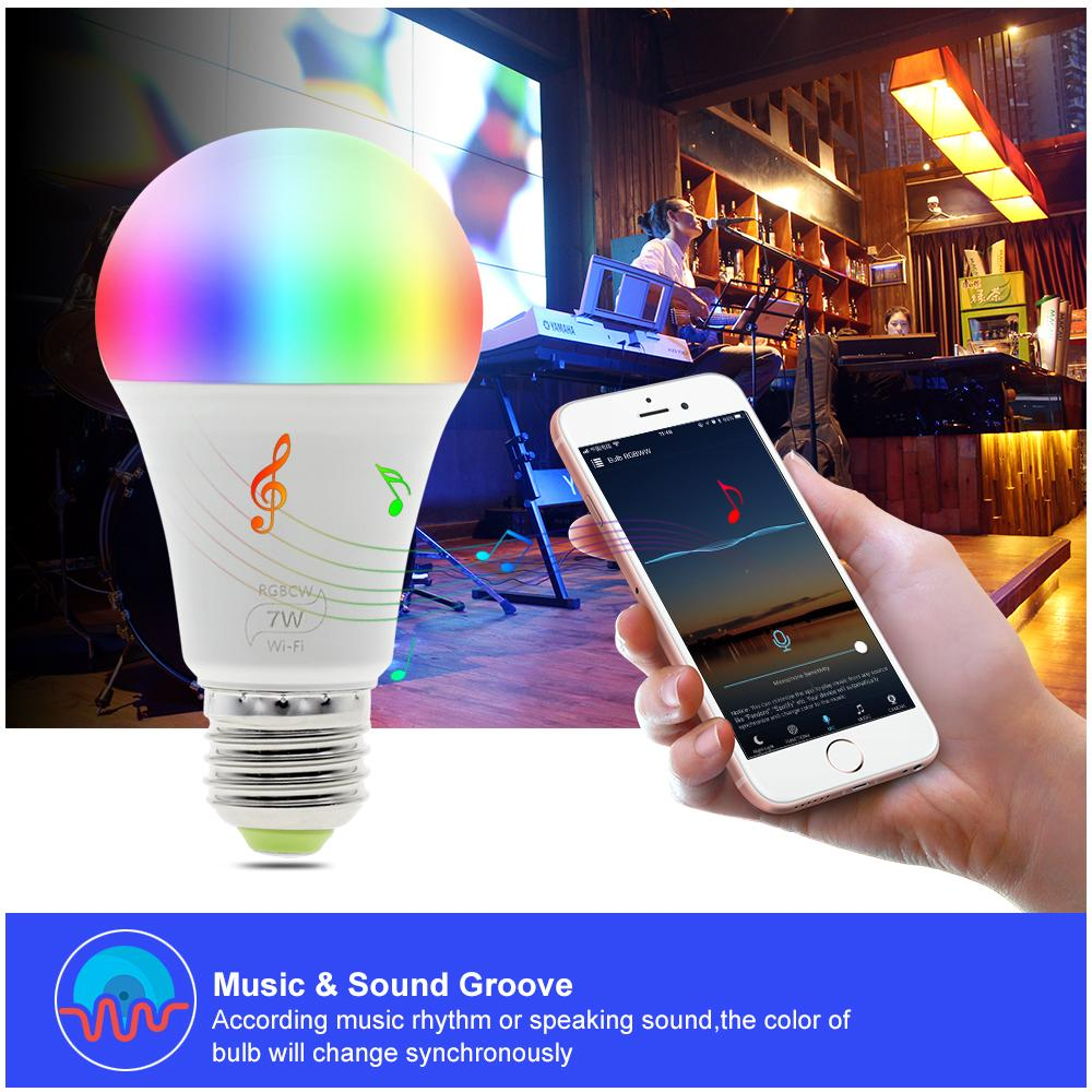 WIFI LED Smart Bulb travail avec Amazon Alexa Accueil Google RGB + chaud Light + blanc E27 7W AC85-265V LED Ampoule