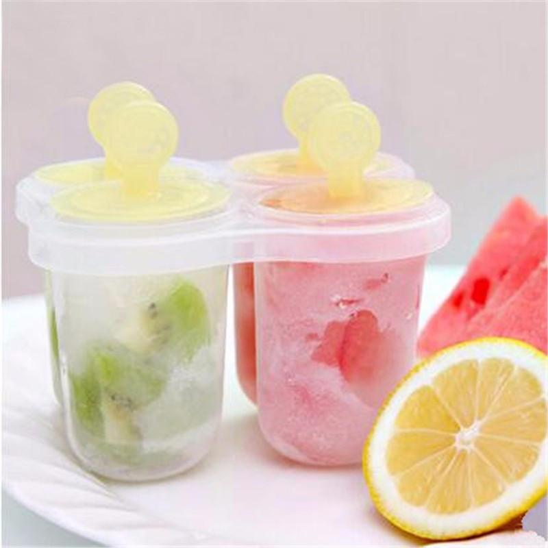 Promozione Estate 4 cellulare congelato gelato Pop muffa di categoria alimentare di plastica Popsicle Maker Lolly vassoio della muffa della cucina della vaschetta fai da te colore casuale