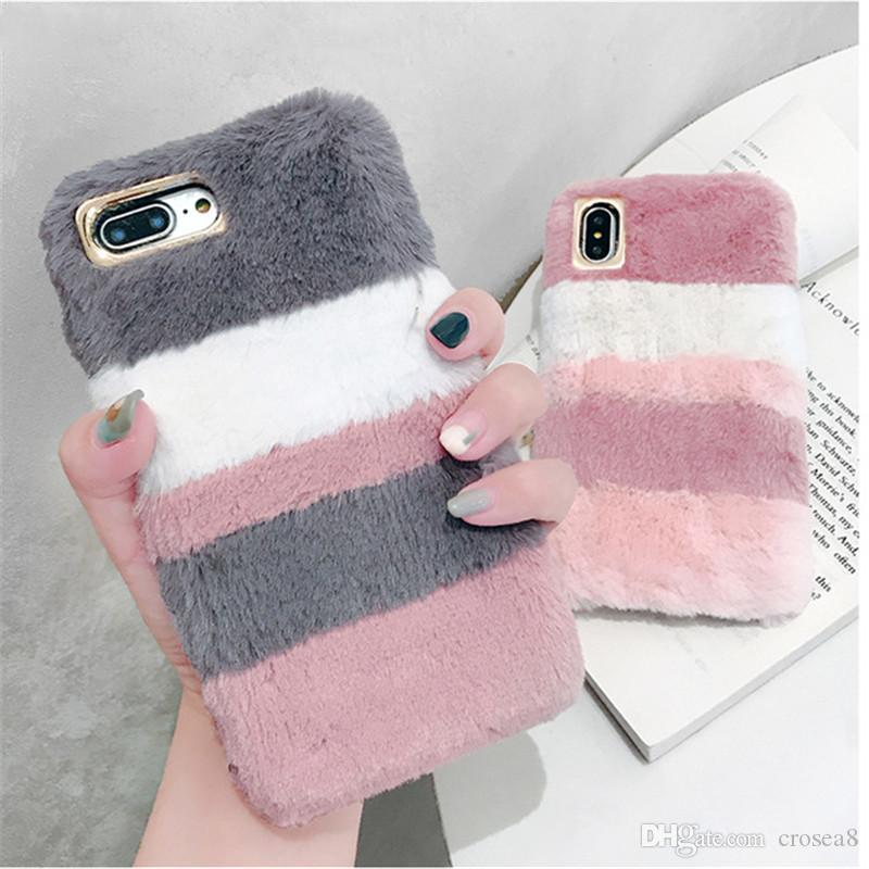 new style f489e b38cb Fashion Fluffy Mix Warm Rabbit Fur Silicon Phone Case For Apple IPhone XS  MAX XR X 8 7 6S Plus Gradient Back Cover Leather Phone Case Make Your Own  ...
