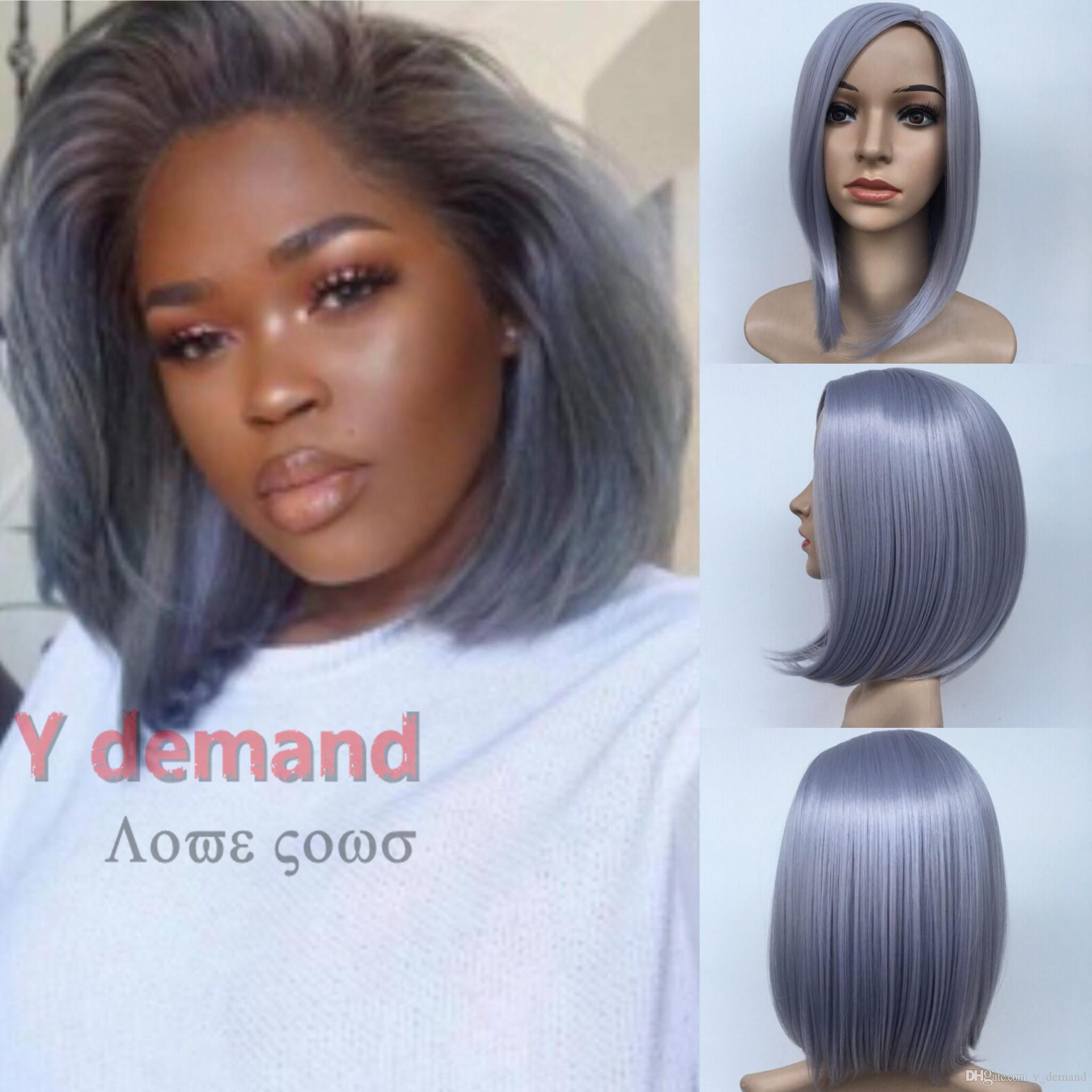 Y-D 3 colores negro corto pelucas rectas moda sin cola peluca llena del pelo para afroamericanos mujer 12 pulgadas resistente al calor para mujeres negras