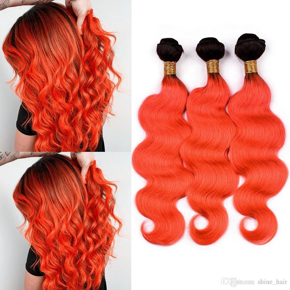 """Arancione Ombre Brasiliani Fasci di capelli umani 3 pz onda del Corpo # 1b arancione Ombre Tessuto Dei Capelli Umani trame 2 Tone Ombre Estensioni Dei Capelli 10-30"""""""