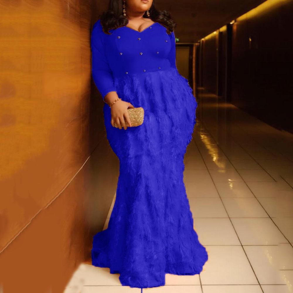 Arancione Piuma sirena lunga del partito delle donne da sera elegante Plus Size XL-5XL aderente diamante floor-lunghezza del vestito dalle signore maxi