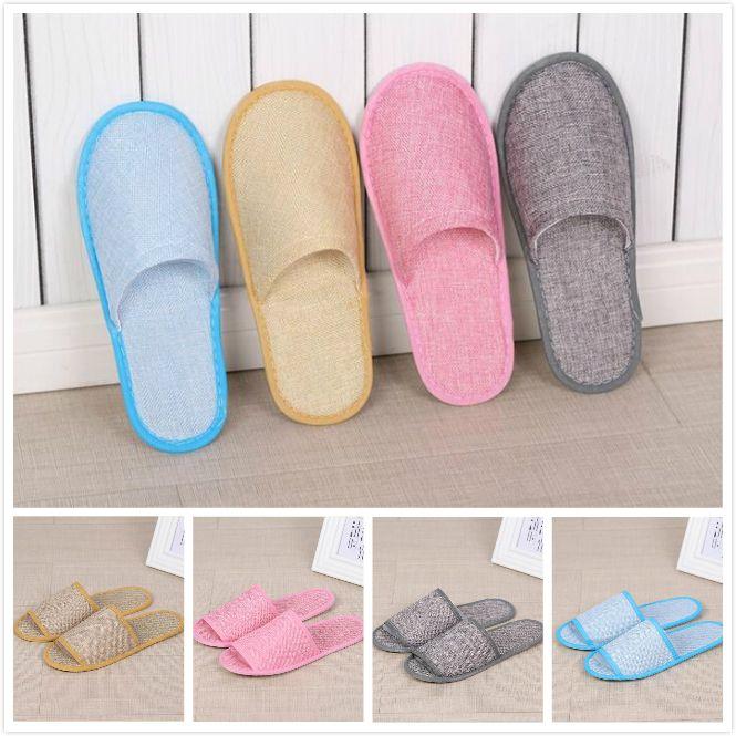 Zapatillas desechables Hotel Spa Spa Home Guest Shoes 4 colores cómodo transpirable suave antideslizante de algodón lino de algodón zapatillas individuales