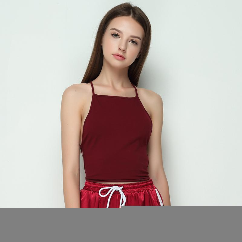 Summer Fashion Women Elastic Cotton Tie Back Camis Tied Strap Crop Tops Backless Tank Tops Cross Camisole