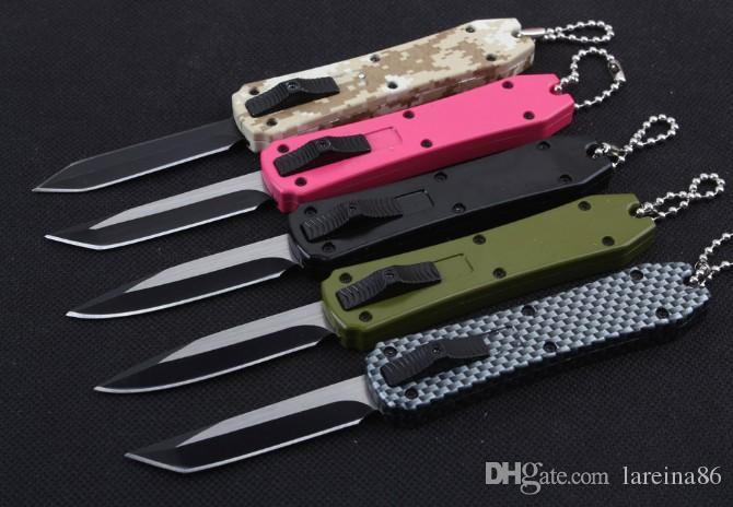 5 colors mini Keychain pocket knife aluminum automatic double action fishing self defence xmas gift knife Kitchen knife 1PCS,Free shipping