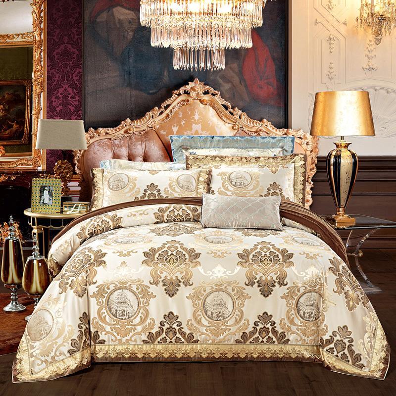 European style golden jacquard satin luxury bedding sets/bedclothes queen king size duvet cover bed linen sheet set pillowcase T200517