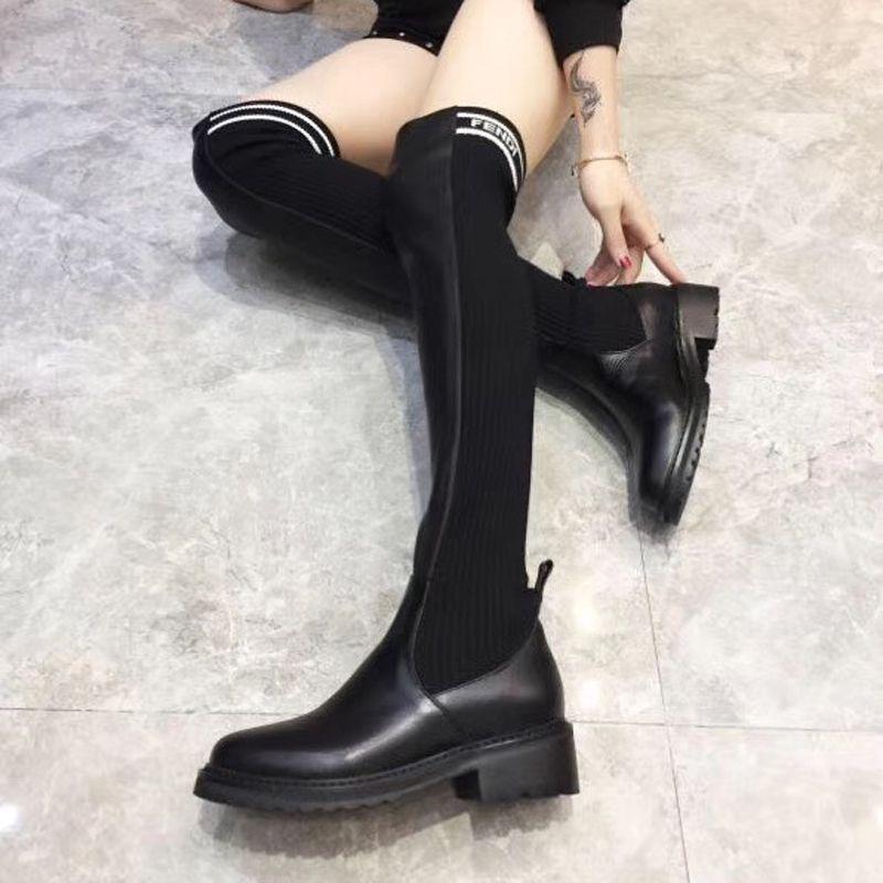 femmes de luxe de la mode chaussures sur les bottes de genou 2020 nouvelles superstars cuisse des femmes des bottes de haute taille chaussettes tricotées EU35-41 style preppy