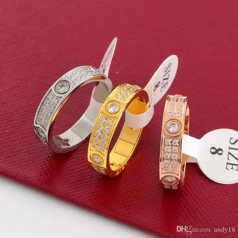 Роскошные Полные Бриллианты Кольца Любви Из Нержавеющей Стали Розовое Золото Пара Кольца Группы Мода Серебро 18 К Любители Золота Кольца для Женщин Мужчин Изящных Ювелирных Изделий