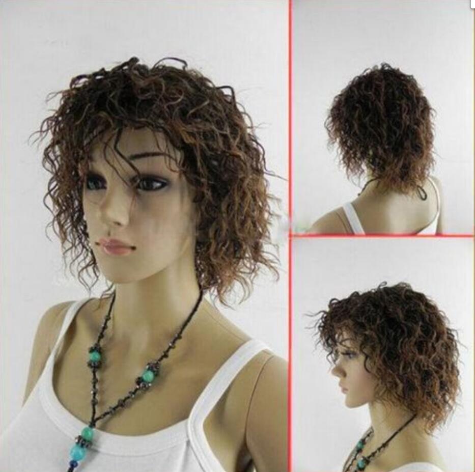 WIG HOT vende la parrucca completa sintetica marrone riccia parrucca del partito femminile sexy di trasporto libero