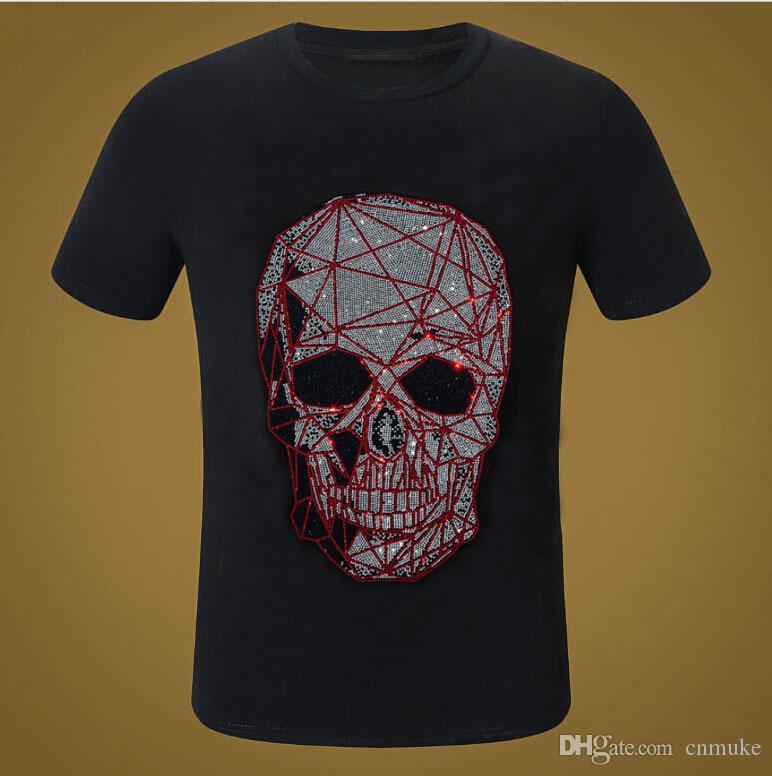 broca Hot Men camiseta manga curta T-shirt Diamonds Hip Hop T encabeça Camiseta
