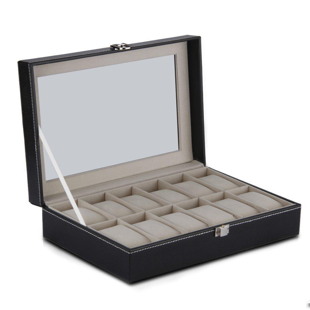 12 Reloj de cuadrícula Vitrina Reloj de pulsera Caja de almacenamiento Joyero Organizador de almacenamiento