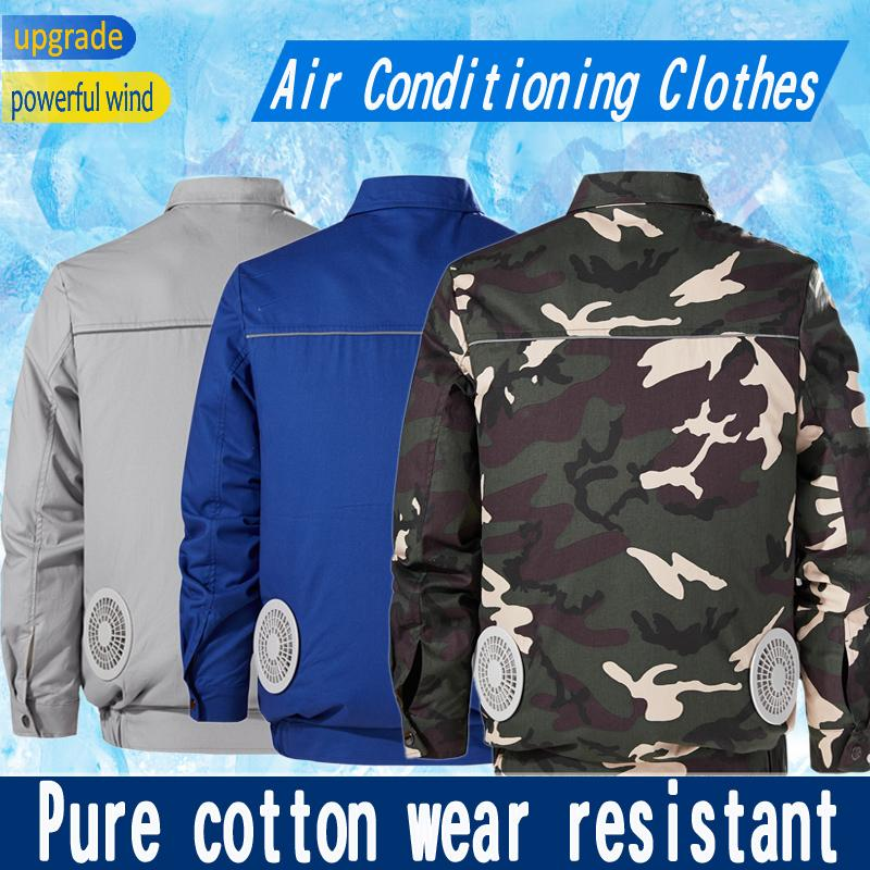 Summer Outdoor Cooling Fan Jacket Men USB Charging Air Conditioning Clothing Sun-Protcetive Coat Construction Work Clothes
