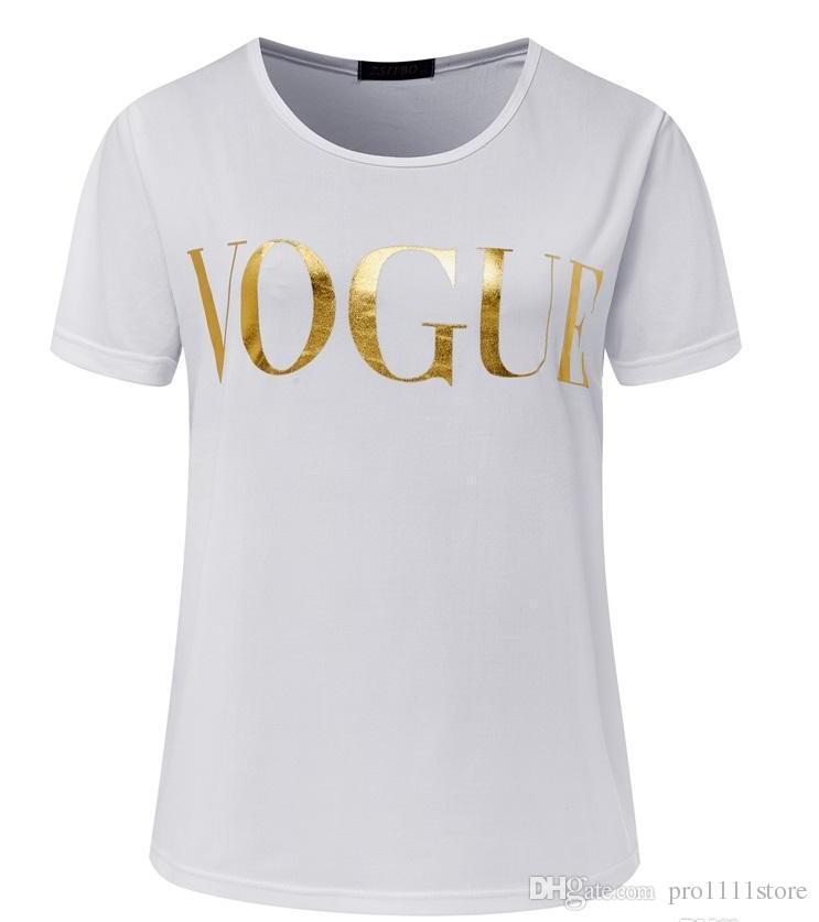2019 무료 배송 여름 패션 의류 여성 VOGUE 문자 인쇄 여성 T 셔츠 Camisas 티 여성 spandes 짧은 소매 화이트 탑