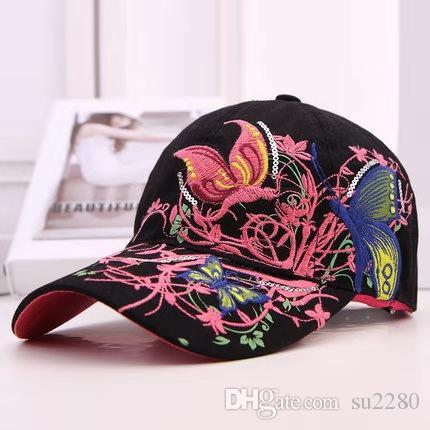 casquette papillon baseball brodé dame marée version coréenne pare-soleil extérieur chapeau de soleil de sport de langue de canard