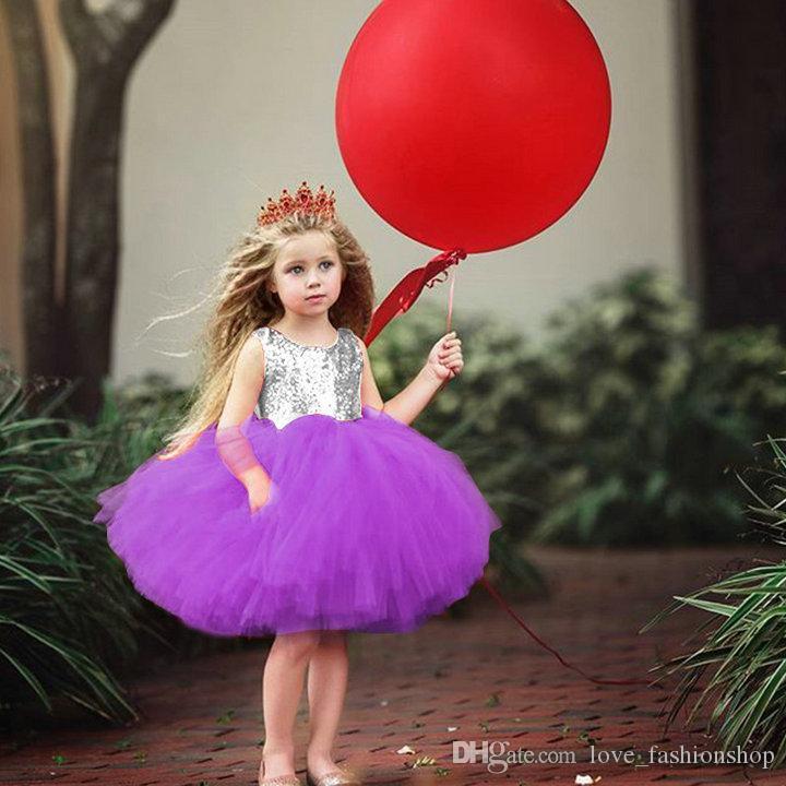 Retail kids designer girls dresses sequine Vest backless love mesh princess dress Kids Pleated Ball Gown Tutu Dress Children Party Dancewear