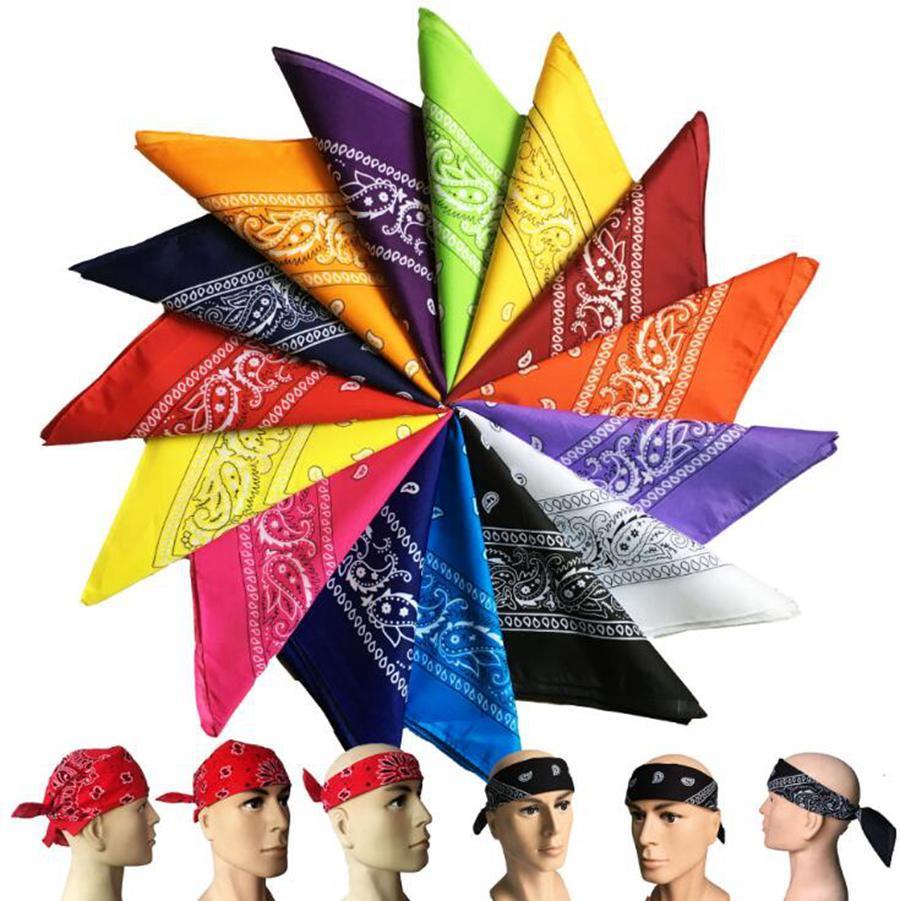Hip Hop Square Bandanas 55*55cm Polyester Printed Paisley Headband Sports Hiking Magic Scarves 19 Colors OOA7632