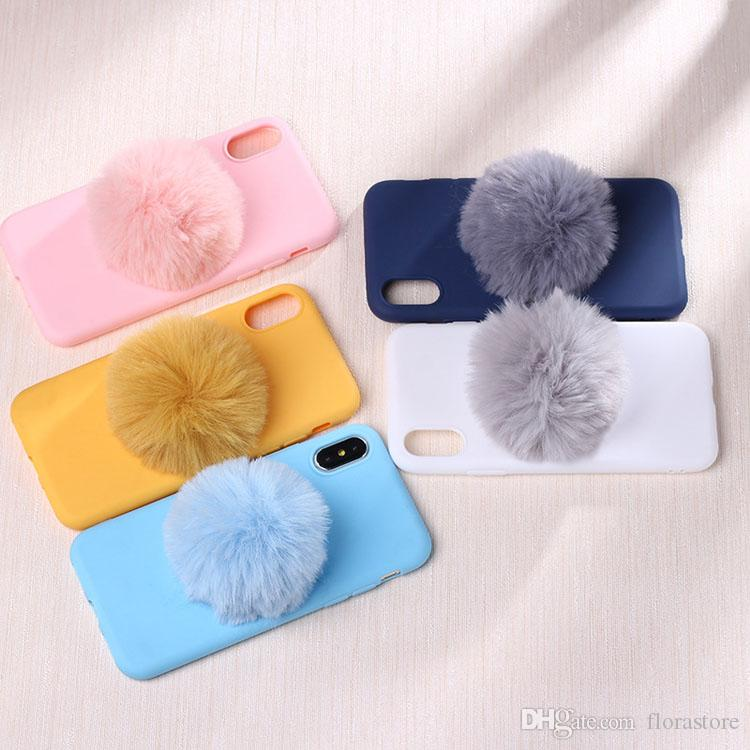 3D Fur Downy Soft Plush Back Cell Phone Case Cover Candy Color Soft TPU Phone Shell for iPhone 7 8PLUS XR X MAX