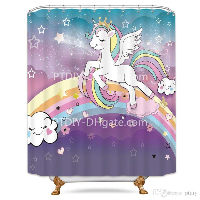 Cute Unicorn Rainbow Star Polyester Fabric Shower Curtain Bathroom Accessory Set