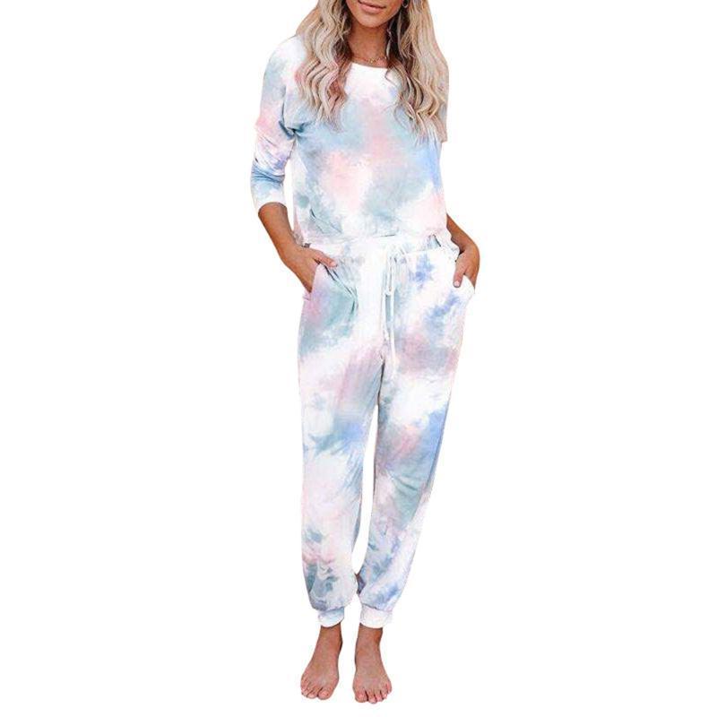 Женщины Ladies Summer Casual Tie Крашение Patterns шея длинный рукав высокая талия Drawing ремни на резинке Брюки Set