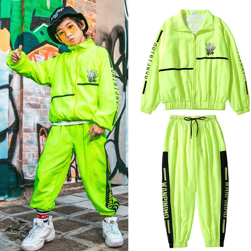 Children Hip Hop Clothing Boys Street Dance Show Costumes Fluorescent Green Suit Jazz Dance Costumes Girls Rave Clothes DQS3521