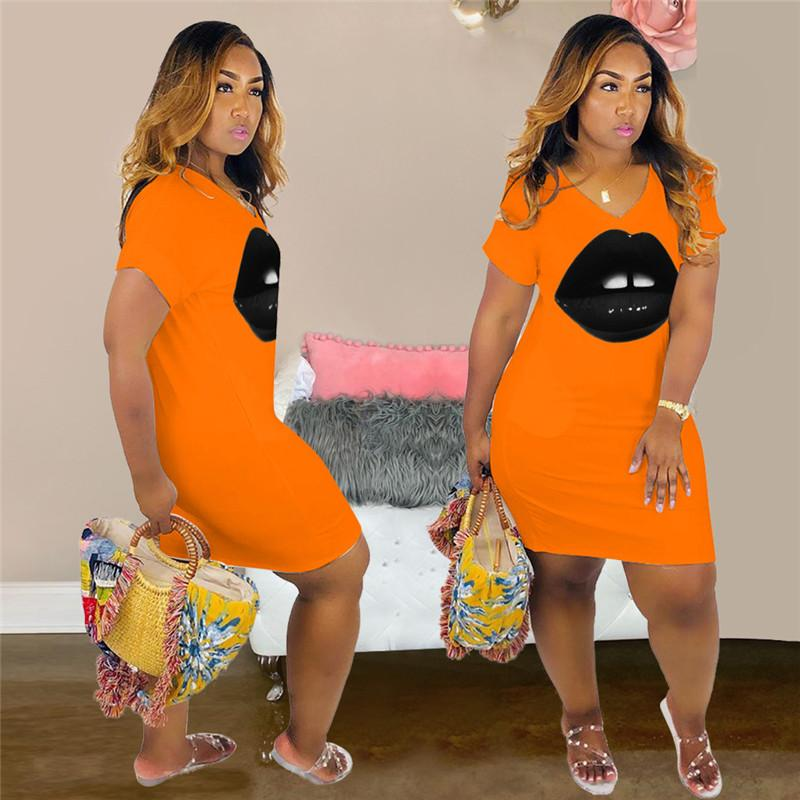 2020 diseñador de la mujer vestidos de verano Casual labios estilo caliente atractivo delgado de la manga corta cuello V vestidos para mujer de la ropa de moda