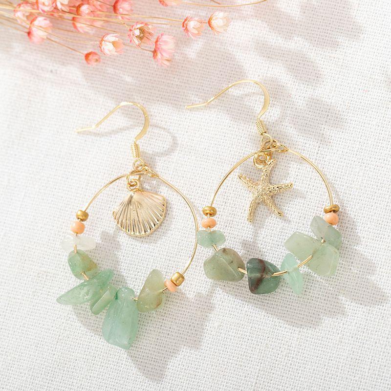 Moda Kadınlar için Bohemian Küpe Denizyıldızı kabuk Yeşil Taş Bildirimi Kanca Küpe Dangle Avize Boho Turkuaz Küpe Takı Hediye
