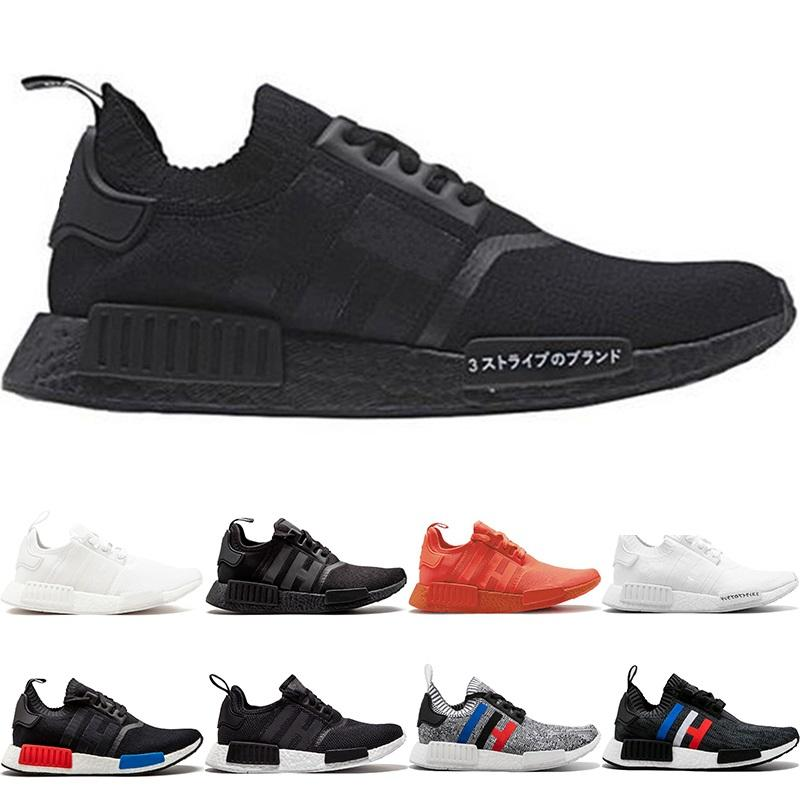 NMD R1 Primeknit Running Shoes Men Women Triple Black White OG Classic Tri-Color Grey Oreo Japan Red Casual Sports Sneakers Size 36-45