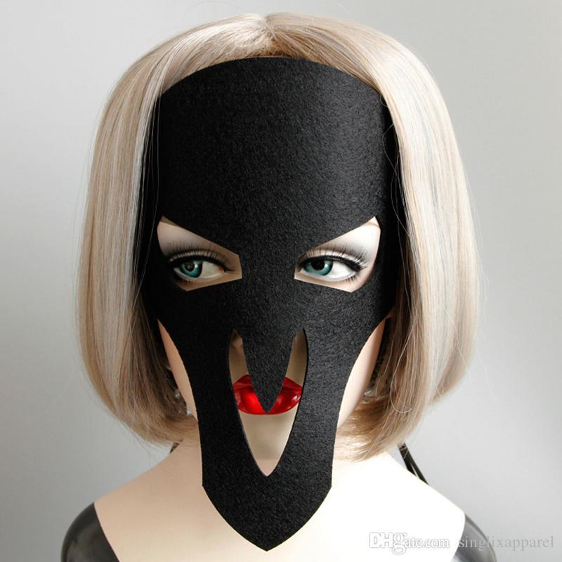 Black Ghost Mask Halloween Masquerade Unisex Terror Skull Masks Gothic Style Hair Accessories for Girls Headband for Kids