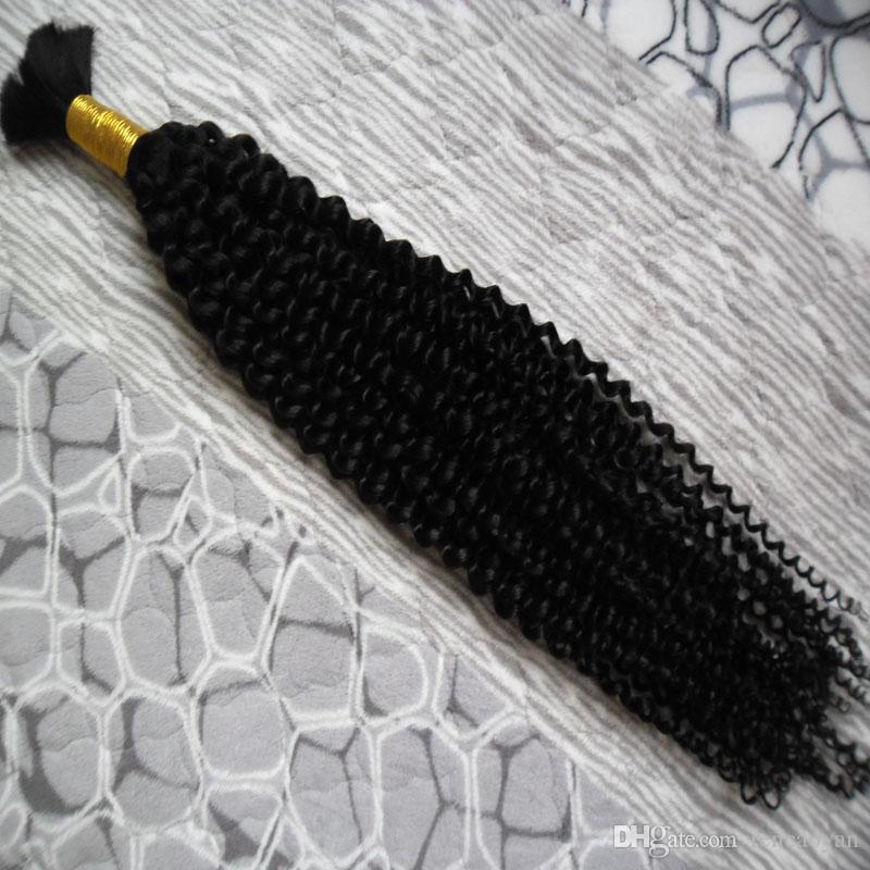 Mongolian Kinky Curly Bulk Hair 100g Sem trama Bulk de Cabelo Humano para Braiding1 Bundles Human Hair para trança a granel Sem fixação
