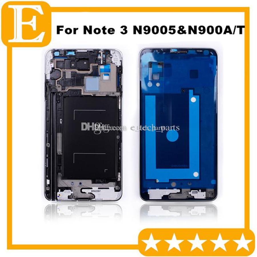 Samsung Galaxy Note 3 LTE 4G N9005 VS N900A N900T Ön Ekran LCD Çerçevesi Orta Bezel Konut + Home Düğmesi Gümüş 50PCS için OEM